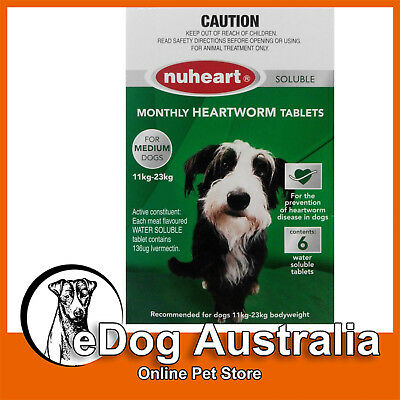 Clearance Nuheart Soluble Heartworm Tablets For Medium Dog 11-23 kg 6 Tablets