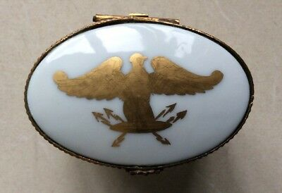 Limoges France Hand Painted EAGLE 4 Legged Trinket Pill Box