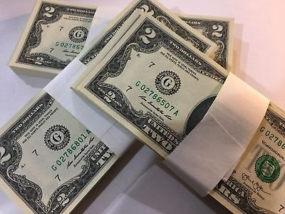 25  NEW Uncirculated $2 (two) Dollar Bill Note USD BEP