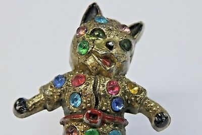 Vintage 40's 1940's Jeweled Puss in Boots Cat in Red Boots Pin Brooch