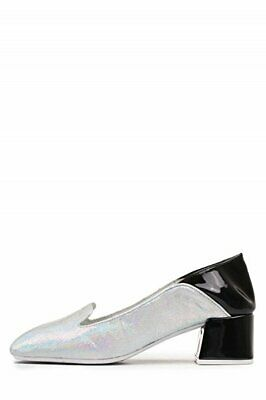 76ef3fb147b Jeffrey Campbell Gulana Cork Metallic Slip On Blocked Heel Pumps (Silver