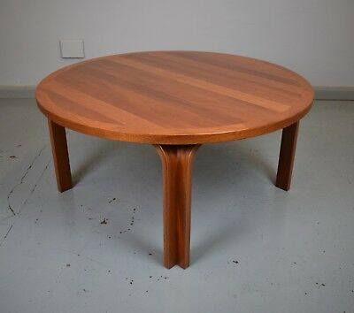 Mid Century Retro Danish Mahogany Circular Sofa Coffee Table by Magnus Oleson