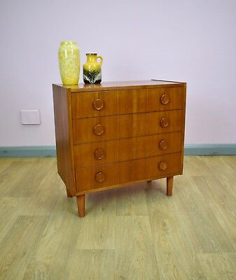 Mid Century Retro Vintage Danish Small Teak Bedroom Chest of 4 Drawers 1960s 70s