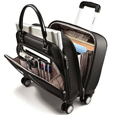 "17"" Spinner Underseat Business Case Wheeled Luggage Women Laptop Travel Black"
