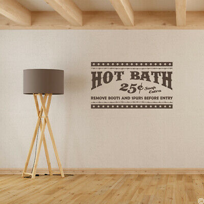 "Wall Quote ""Hot Bath 25 cents, Soap Extra,"" Vinyl Wall Decal L248"