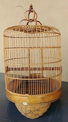 Vintage Antique Handmade Bamboo and Carved Wood Bird Cage