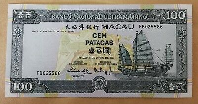 Macau 100 Patatas 2003 Pick 78 UNC - City & Ship