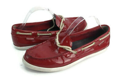 3e2bc903c85 Cole Haan Women s Red Patent Leather Lace Up Moccasin Boat Shoe Loafers  Size 10