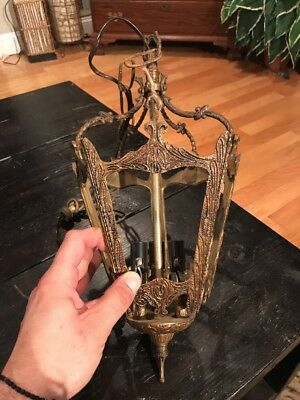 Antique French Hall Lantern Cast Brass Chandelier Hanging Ceiling Light Fixture