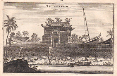 1668 Tai'an Dai Miao China Tempel temple Kupferstich antique print Nieuhof Asia
