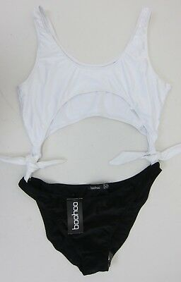 754c6ea443e5 Boohoo Women's Moscow Cut Out Tie Side Swimsuit US 12 Black/White NWT