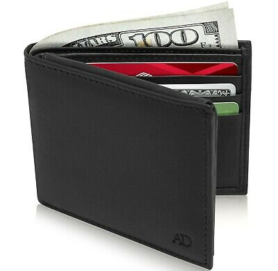 New Genuine Leather Mens Bifold Wallet With 2 ID Windows RFID Blocking 12 Slots