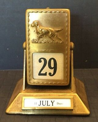 Irish Setter Vintage Brass Perpetual Desk Calendar Collectible