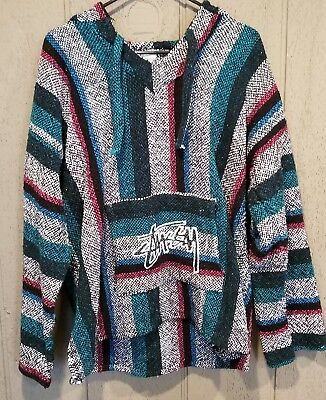 "RETRO STUSSY 90s ONE WORLD ONE LOVE Baja Hoodie poncho jacket XL/L ""Stussy Man""$"