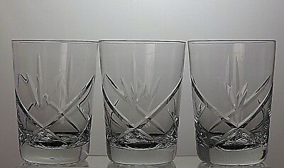 """Royal Brierley Crystal Cut Glass Tumblers Set Of 3 - Signed - 4 1/8"""" Tall"""