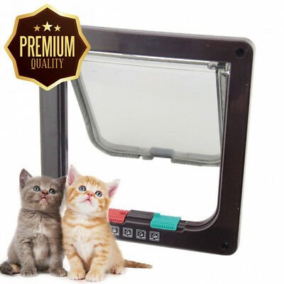 Chic2click New White Frame 4 Way Locking lockable Pet Cat Small Dog Flap...