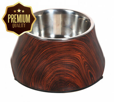 Dogit Design Faux Wood Dog Bowl/Diner with Stainless Steel Insert