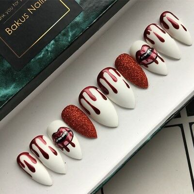 Hand Painted False Nails White Kylie Cosmetics Nail Art Stiletto Full Cover Tips