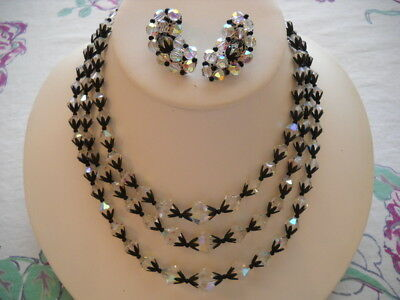 Stunning Vintage 3 Std Necklace & Earrings Set Cut Glass Crystals Black Enamel