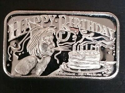 1984 Crown Mint 1 Oz Happy Birthday Fine Silver Art Bullion .999 Bar 31.20 Grams