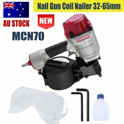 MCN70 Pneumatic Coiler 32-65mm Nailer Power Tool Timber Framing Roofing Air HS