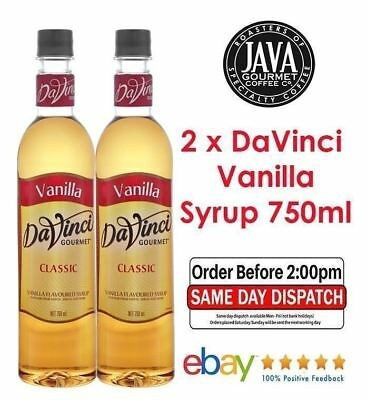 2 x DaVinci Vanilla Flavoured Syrup 750ml ** FREE SHIPPING ** Fast Dispatch **