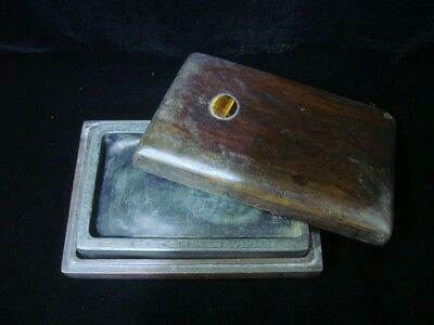 "Rare Antique Chinese ""Duan"" Ink Stone Carving Rectangle Ink Slab with Box"