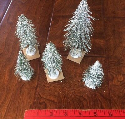 """5 Dept 56 Christmas Village Trees Snow Covered Hobby Train Doll House 3.5"""" /5.5"""""""