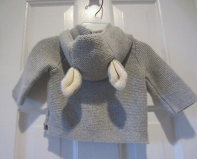 Beatrix Potter for Baby Gap Gray Bunny Ears Hooded Knit Sweater (0-3 Months)