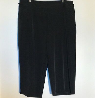 CATO WOMAN Women' Stretchy Black Pants Cropped Capris Summer Side-Zip Size 18W
