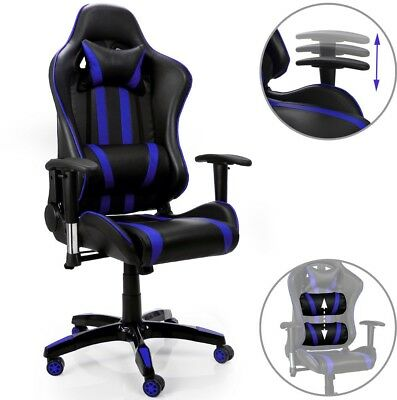 PC Chair Blue Office Gamer Desk Gaming Racing Design Chair Comfortable Computer