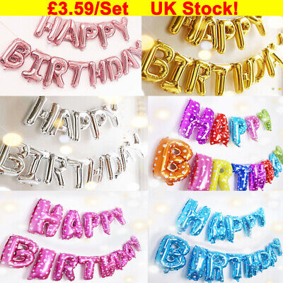 Happy Birthday Balloon Banner Bunting Self Inflating Letters Foil Balloons Decor