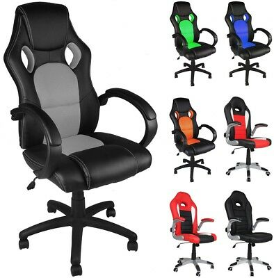 Office Desk Chair Racing Gaming PU-Leather Swivel Adjustable PC Computer Chair