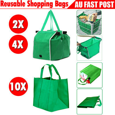 38e07df16 2 4 10Pcs Reusable Shopping Trolley Bags Tote Eco-Friendly Grocery Cart  Carrier