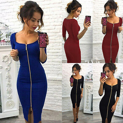 UK Womens V Neck Bodycon Front Zip Cocktail Ladies Party Pencil Midi Dress