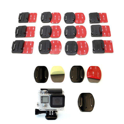 12pcs Flat Curved Surface Mounts Helmet+3M Adhesive Pads For GoPro Hero 2 3 3+ 4