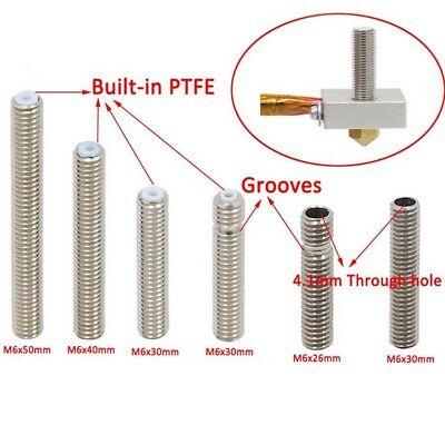 M6x30mm&40mm&50mm MK8 Nozzle Throat Tube For 3D Printer Extruder Makerbot 1.75mm