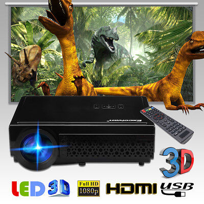 Excelvan 96+ Support 1080P 3000LM LED Projector Black EU/120inch Colth Screen