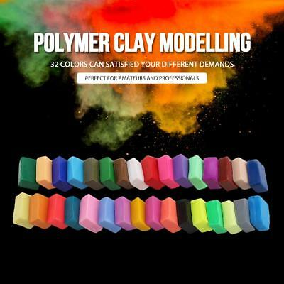 32 Color Polymer Clay Tool Set Oven Bake Clay with 5 Sculpting Tools Kit