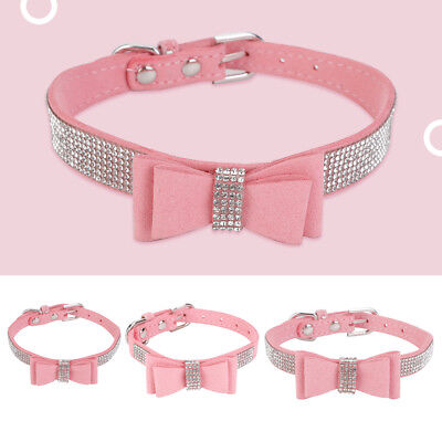 Cute Crystal Diamante Cat Dog Collars Fancy Bling Rhinestone Dog Necklace Pink