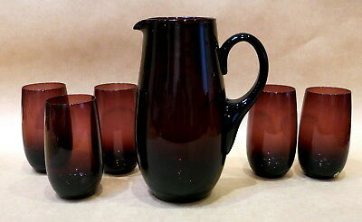 MID CENTURY PURPLE JUG & SET OF 5 MATCHING GLASSES TUMBLERS 1960s MADE IN ITALY