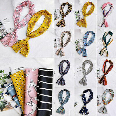 Women's Charm Long Silk Feel Satin Scarf Skinny-Retro Head Neck Hair Tie Band...