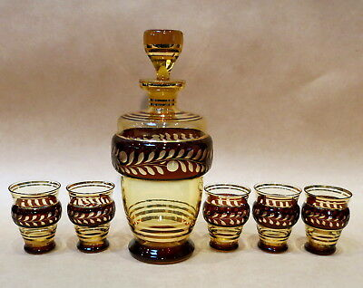 MID CENTURY RED & GOLD DECANTER & FIVE MATCHING GLASSES 1950s