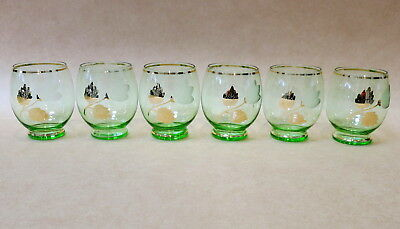 SET OF SIX MID CENTURY GREEN & GOLD TUMBLERS GLASSES 1950s