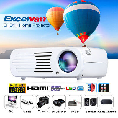 Excelvan 2600 Lumens Home Projector Mini LED HD Projector Support 3D Black/White