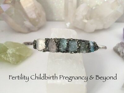 Fertility Pregnancy Ivf Childbirth & Beyond Raw Crystal Cuff Bracelet Reiki