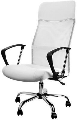 Office Chair Leather Mesh Back Support Computer Swivel Desk Executive PU White