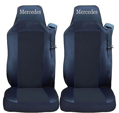 2x Seat Covers for Mercedes Actros Axor Tailored HGV Truck Lorry Black/Black