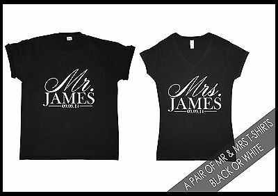 Pair of MR and MRS Surname Personalised his/ her T-Shirts Wedding Gift Honeymoon