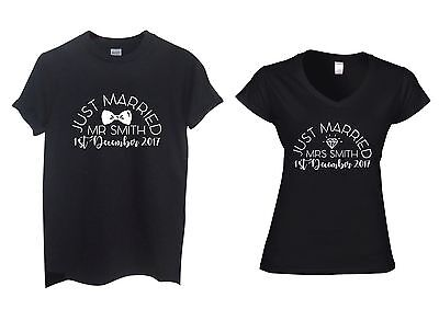 Pair of Just Married MR and MRS Surname Personalised T-Shirts Wedding Honeymoon
